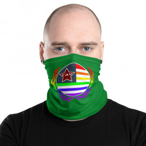Green Print Neck Gaiter w Pride Wreath & Flag