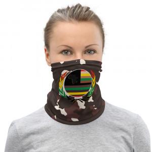 Dark Lite Skintone Camo Print Neck Gaiter w Pan African Unity Wreath & AAV Flag