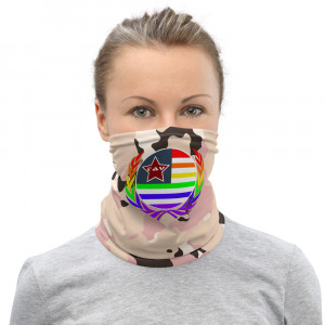 Lite Skintone Camo Print Neck Gaiter w Pride Wreath & LAV Flag