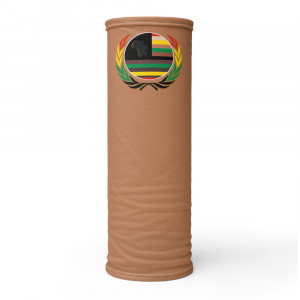 B8774F Skintone Print Neck Gaiter w Pan African Unity Wreath & AAV Flag