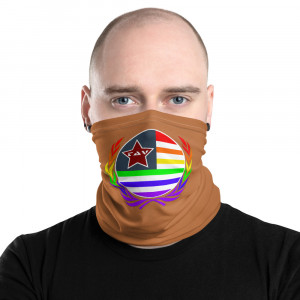 B86C3A Skintone Print Neck Gaiter w Pride Wreath & LAV Flag
