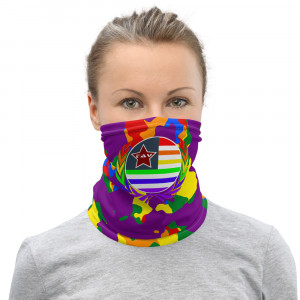 Purple Camo Print Neck Gaiter w Pride Wreath & Flag