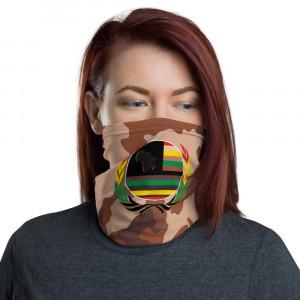 Mild Skintone Camo Print Neck Gaiter w Pan African Unity Wreath & AAV Flag