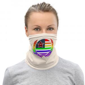 FFF1E2 Skintone Print Neck Gaiter w Pride Wreath & LAV Flag