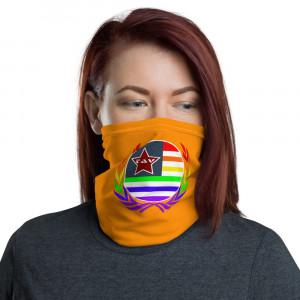 Orange Print Neck Gaiter w Pride Wreath & Flag