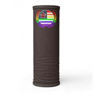 362923 Skintone Print Neck Gaiter w Pride Wreath & LAV Flag